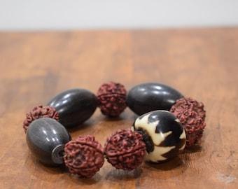 Bracelet Black Horn Rushska Nut Batik Bone Bead Stretch Bracelet
