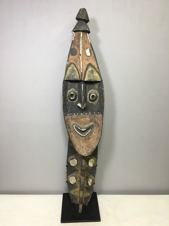 Papua New Guinea Mask Yena  Yam Carved Wood Kwoma Spirit Clan Symbols Mask 39""