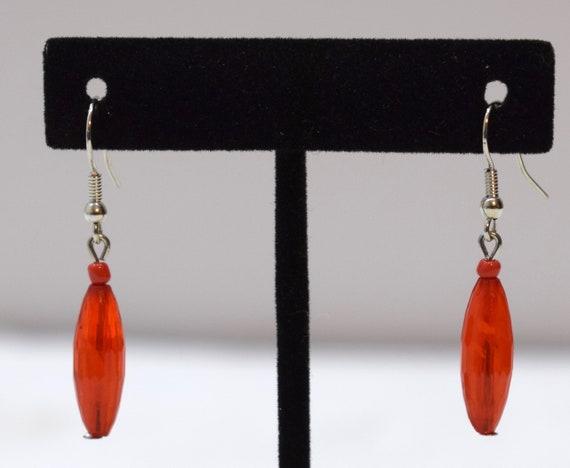 Earrings Red Plastic Teardrop Dangle Earrings 44mm