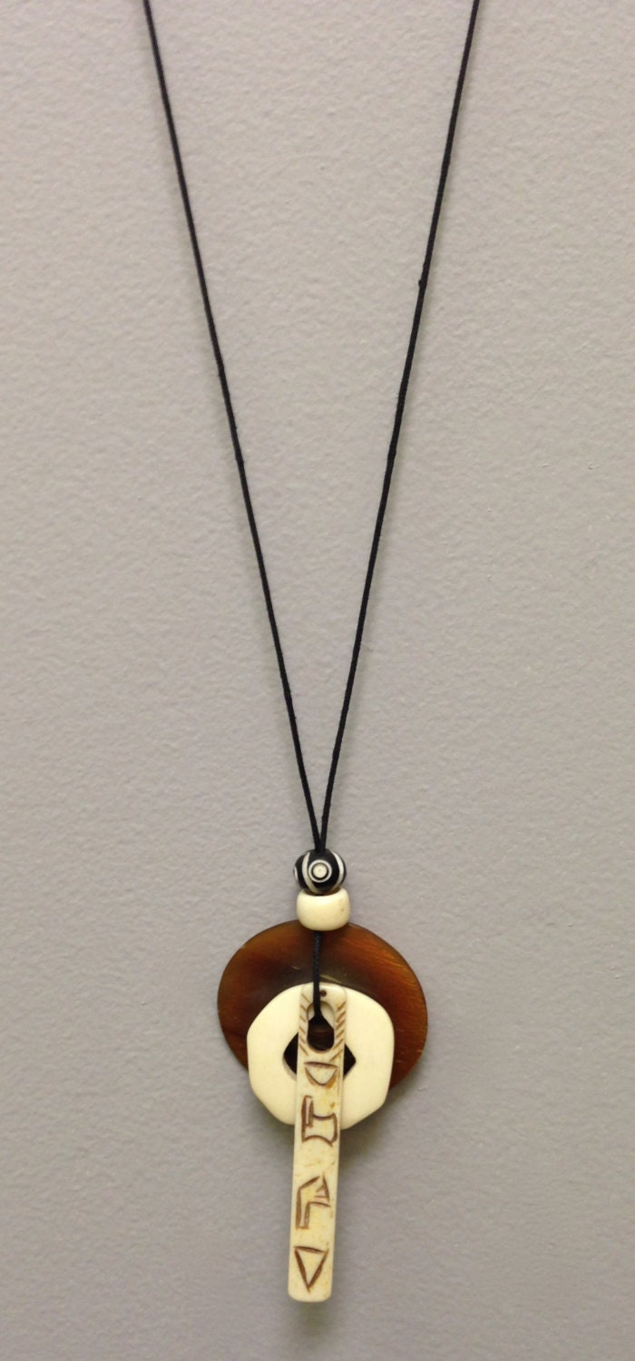 Indonesian Necklace Horn Disc Bone Cord Pendant Handmade Hand Carved Bone Brown Horn Jewelry Gift For Her Necklace One Of A Kind