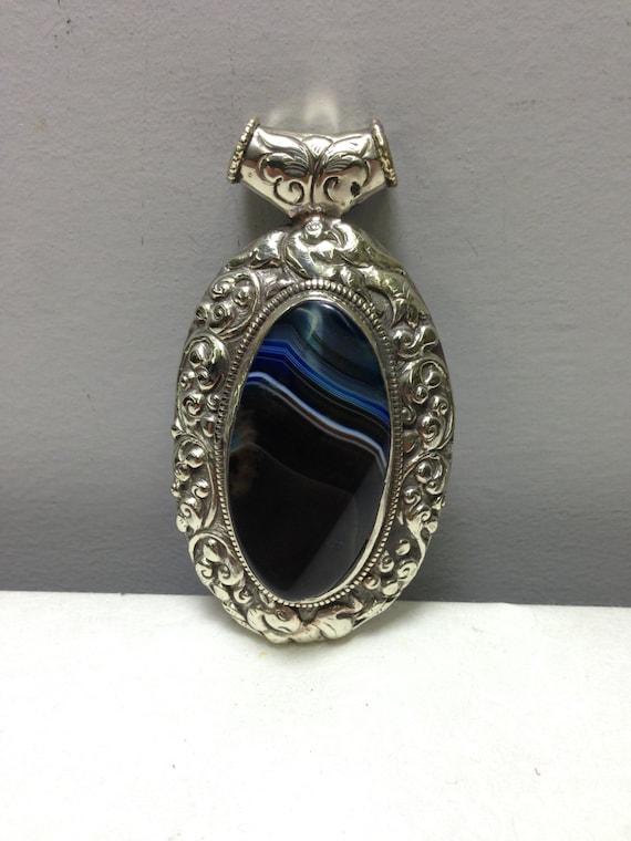 Pendant  Silver Black Agate Stone  Oval Silver Pendant Handmade  Spiritual Tibet Pendant Lapis Necklace Jewelry Agate Unique  Statement