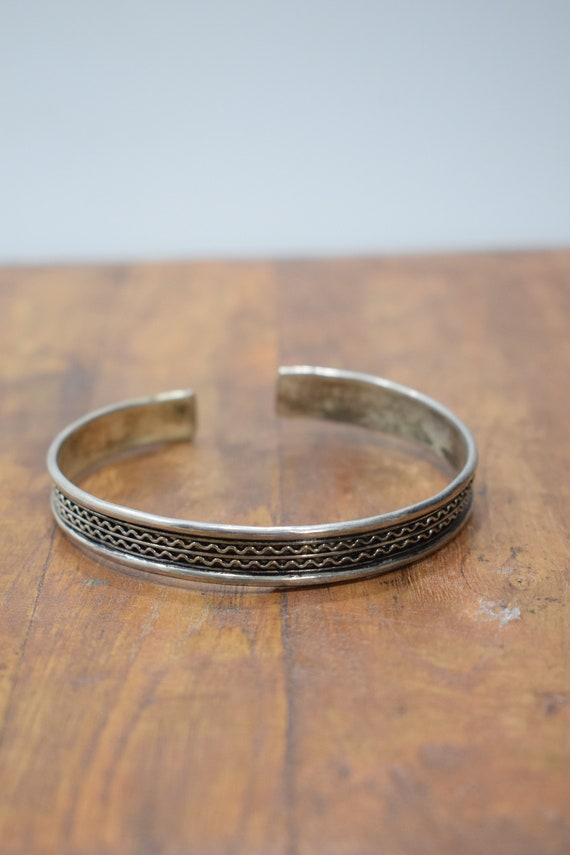 Bracelet Silver Wide Textured Cuff Bracelet