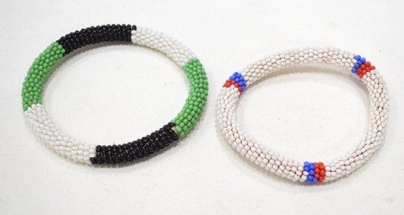 "African 2 Masai Multi Colored Bangle Bracelets Kenya 3.5"" - 4"""