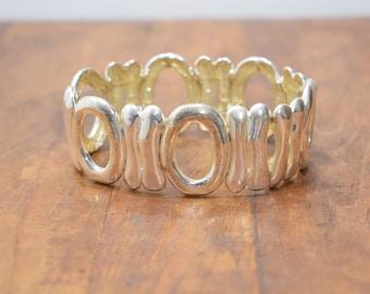Bracelet Plated Silver Stretch Contemporay Bracelet