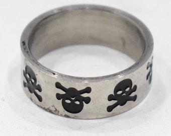 Ring Stainless Steel Skull Cross Bones Band Ring