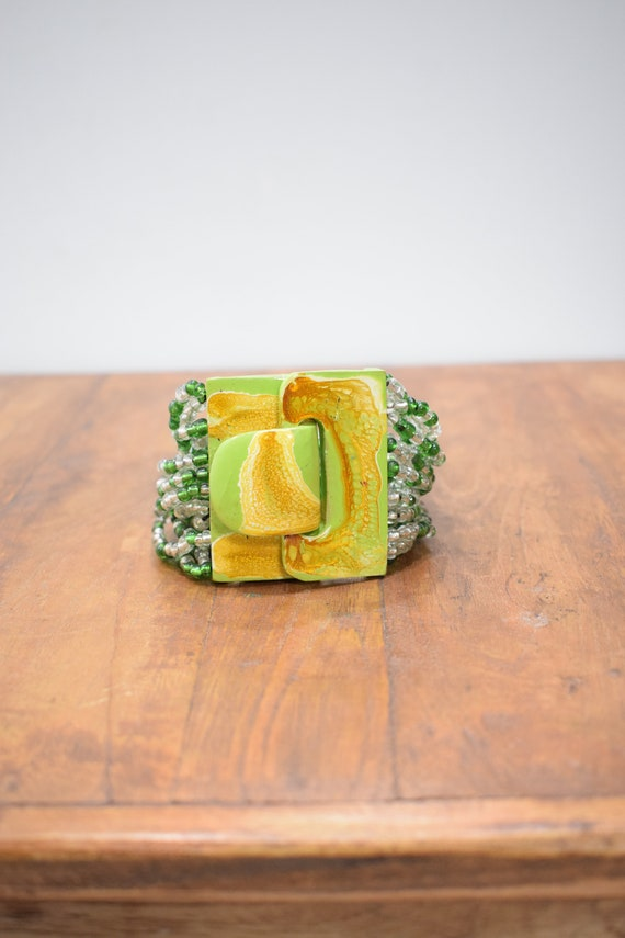 Bracelet Green Beaded Hand Painted Buckle Clasp Bracelet