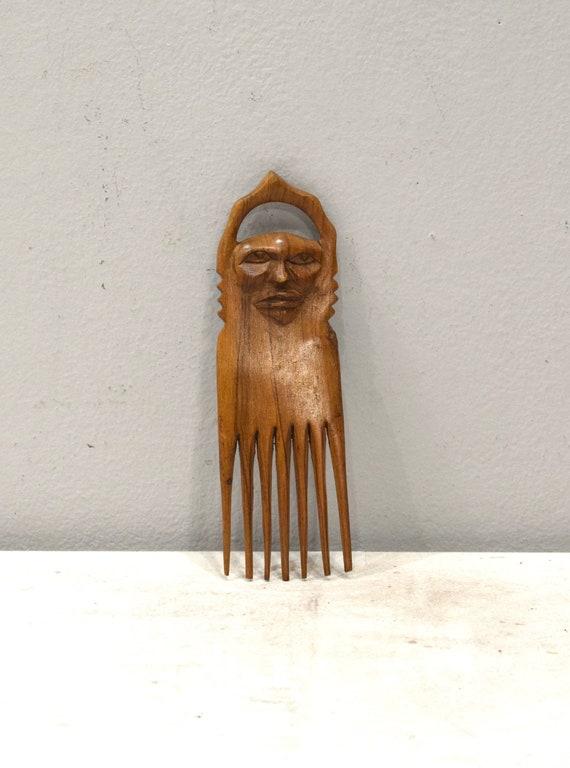 African Wood Hair Pick Carved Face Mahogany Hair Pick