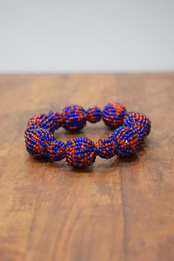 Bracelet Beaded Red Blue Bead Elastic Bracelet