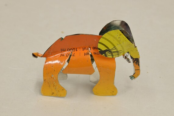 Toy Elephant African Recycled Green Orange Yellow Tin Can Tanzania Handmade Vintage Toy Elephant Animals Recycled Tin Unique One of a Kind