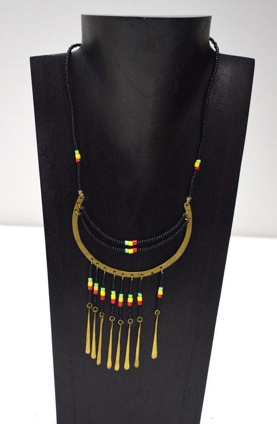 Necklace Africa Brass Black Glass Necklace 22""