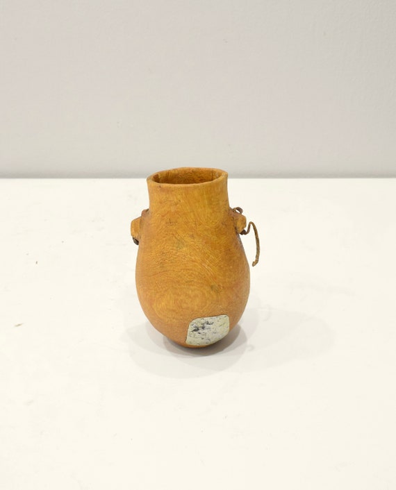 African Turkana Meat Container Leather Food Carved Wood Container