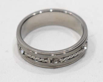 Ring Stainless Steel Crystal Band Ring