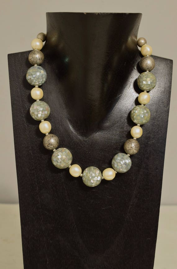 Necklace Chunky Blue Lip Shell Beads Pearl Beads Handmade Jewelry Blue Lip Shell Round Pearl Beads Brushed Old Silver Bead Neckace