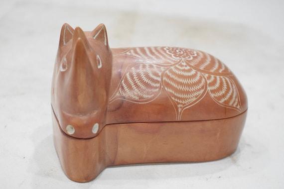 Rhino Soapstone Carved Design Hand Painted Rhino Box Kenya