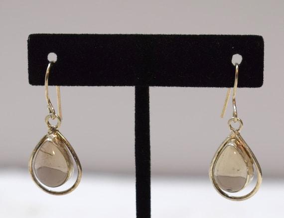 Earrings Sterling Silver Topaz Oval Stone 38mm