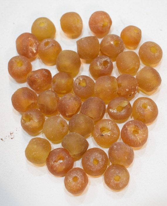 Beads African Recycled Brown Glass Round Beads 14mm- 16mm