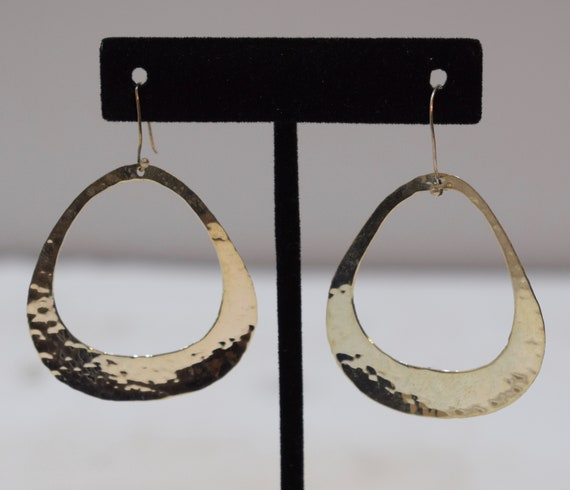 Earrings Sterling Silver Oval Hammered Hoop Dangle Earrings 60mm