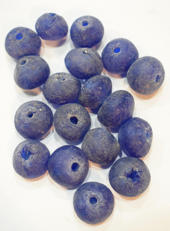 Beads African Recycled Blue Glass Round Beads 22mm - 26mm