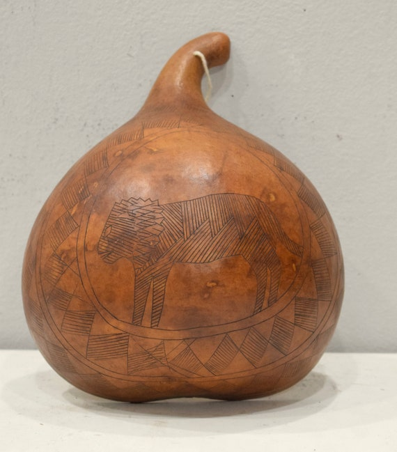 African Half Gourd Etched Container Kamba Kenya