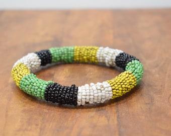 Bracelet Beaded Yellow Green Black Bead Bangle Bracelet