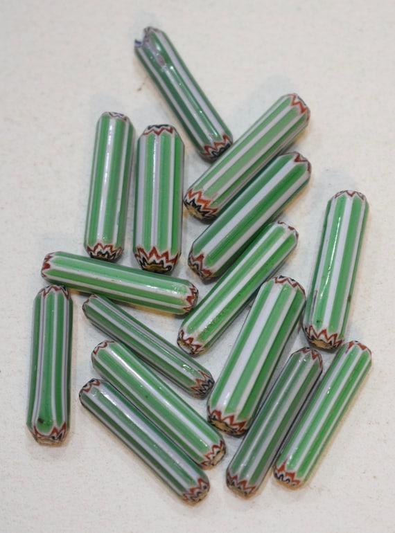 Beads African Green White Chevron  Tube Glass 18mm - 20mm