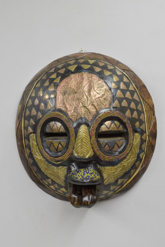 African Mask Baluba Wood Brass Yellow Blue Red Beaded Luba Handmade Mask Ceremonial Spiritual Mask