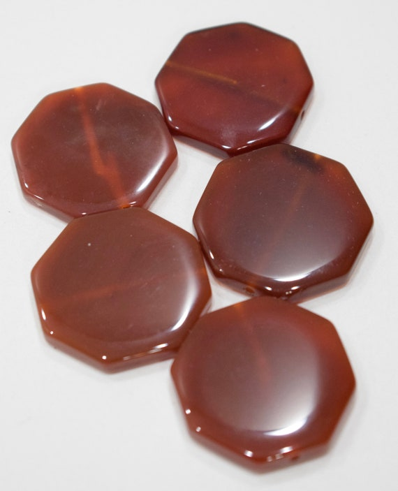 Beads Carnelian Chinese Vintage Hexagon Beads 30mm