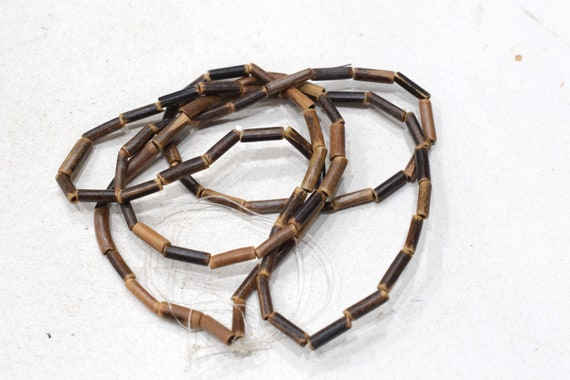 Beads Brown Bamboo Tube Beads 10-12mm