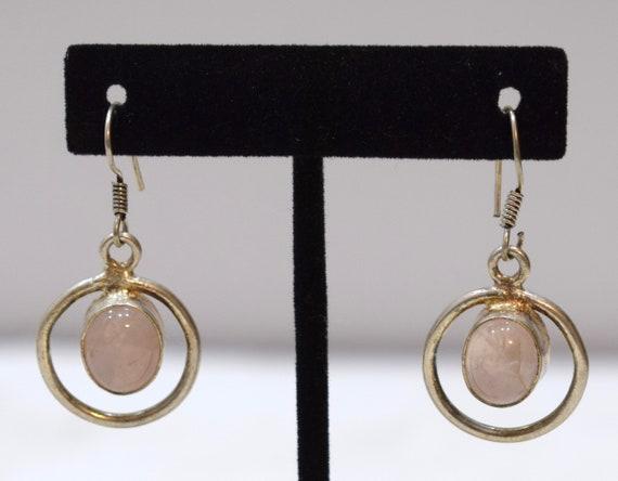 Earrings Sterling Silver Rose Quartz Oval Stone 38mm