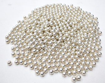 Beads Bright Silver Round Beads 8mm