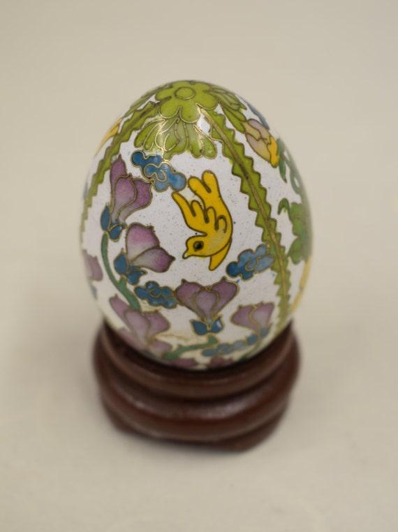 Egg Enameled Floral Teak Wood Stand China Handmade Decorative Yellow Pink Flowers Vines Birds  Egg