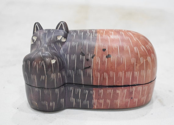 Hippo Soapstone Carved Design Hand Painted Hippo Box Kenya