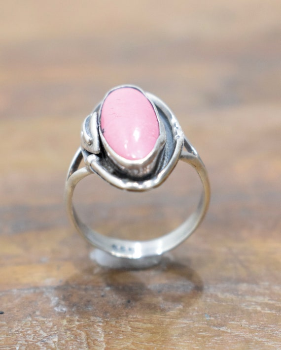 Ring Sterling Silver Pink Stone Ring