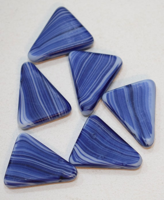 Beads Wedding Glass Blue White Triangle African Beads 26mm