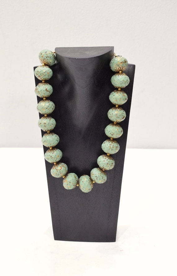 Necklace Indonesian Turquoise Painted Wood Necklace