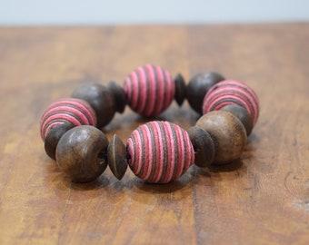 Bracelet Wood Round Pink Textured Beaded Stretch Bracelet