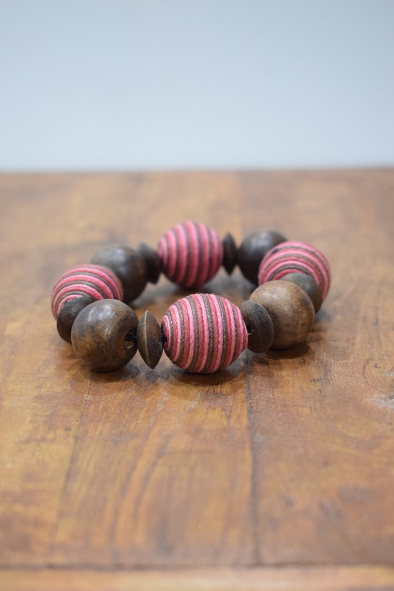 Bracelet Wood Round Pink Textured Beaded Stretch Bracelet