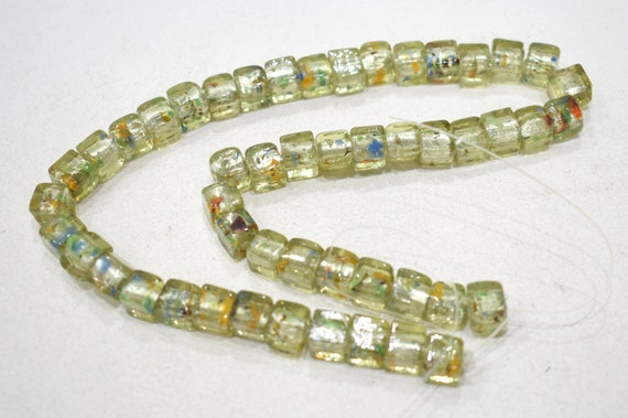 Beads Green Silver Leaf Square Glass Beads 8-9mm
