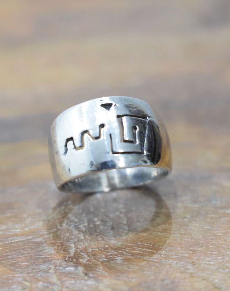 Ring Sterling Silver Etched Cut Out Band Ring