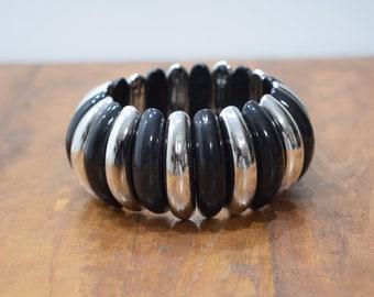 Bracelet Black Silver Plastic Stretch Bracelet
