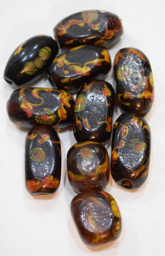 Beads Lampwork Glass Brown Vintage Oval Beads 18mm - 28mm