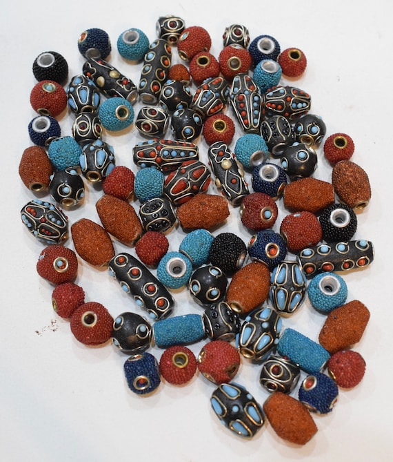 Beads India Silver Mixed Bag Inlaid and Sponge Coral Vintage Beads 12mm - 28mm