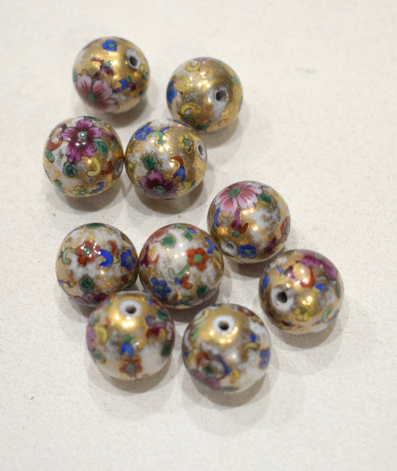 Beads Chinese Gold Floral Porcelain Beads 15mm