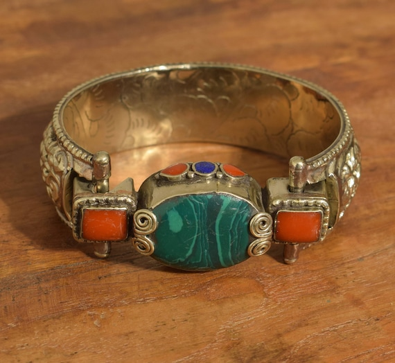 Tibetan Bracelet Silver Malachite Coral Stone Hand Crafted Silver Ornate Cuff Bracelet