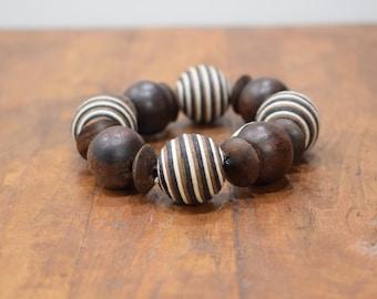 Bracelet Wood Round Textured Beaded Stretch Bracelet