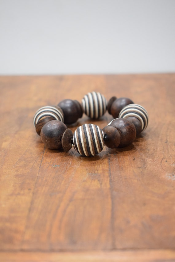 Bracelet Wood Round Textured Beaded Stretch Bracelet