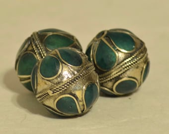 Beads Middle Eastern Green Stone  Brass Oval Beads