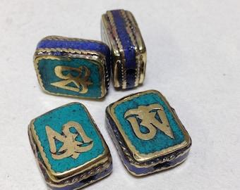 Beads Tibetan Lapis Turquoise Brass Om Beads 18mm