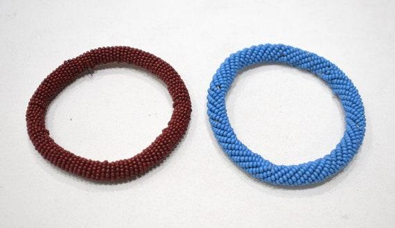 "African 2 Masai Color Beaded Bangle Bracelets Kenya 4"""