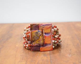 Bracelet Red Hand Painted Buckle Clasp Bracelet